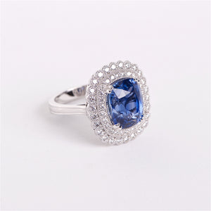 The Clora - 18K GIA Certified Blue Sapphire and Diamond Ring
