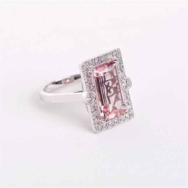 The Miranda - 18K Pink Topaz and Diamond ring