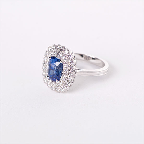The Aoki - 18K GIA Certified Blue Sapphire and Diamond Ring