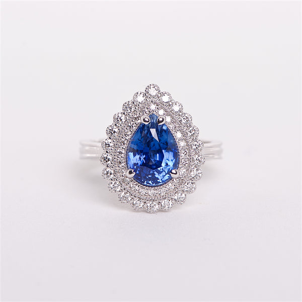 The Azul - 18K GIA Certified Blue Sapphire and Diamond Ring