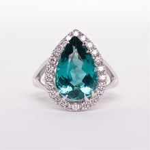 The Charlene - GIA Certified Blue-Green Tourmaline and Diamond Ring