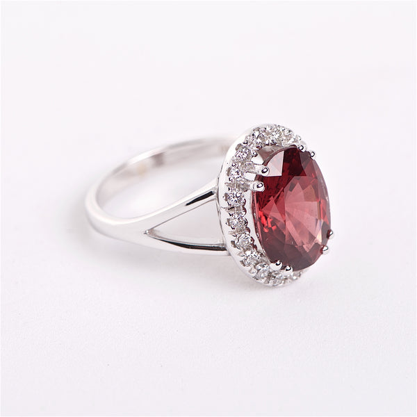 The Diana -  Red Spinel and Diamond Ring