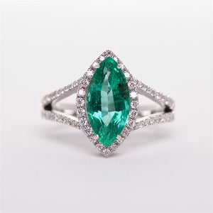 The Teresa - 18K White Gold Emerald and Diamond Ring