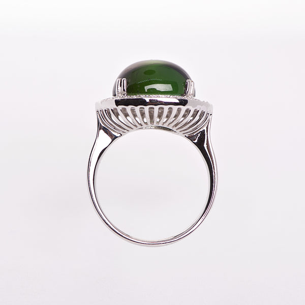 The Beatrice - 18k Cabochon Green Tourmaline and Diamond Ring