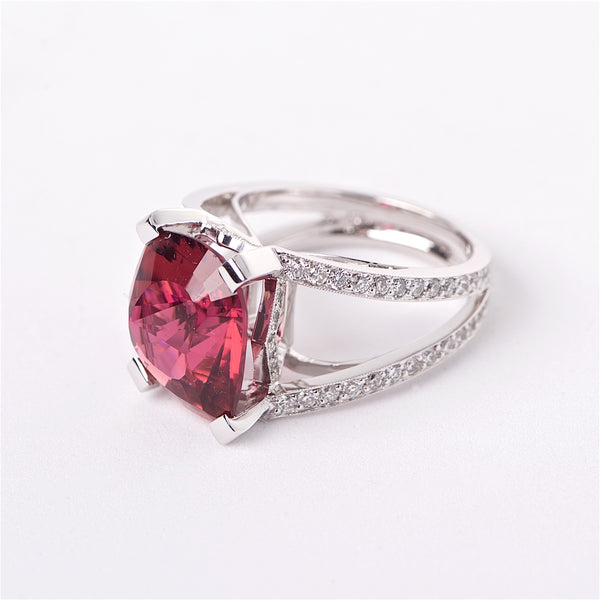 The Jasmine - Rubellite Tourmaline and Diamond Ring