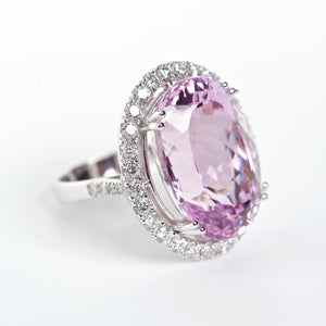 The Vivian - 18K Kunzite and Diamond Ring