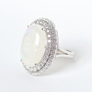 The Evelyn - 18K Australian Opal and Diamond Ring