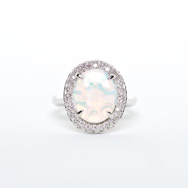 The Cora - 18K Australian Opal and Diamond ring