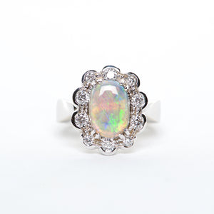 The Solan - 18K Australian Black Opal and Diamond Ring