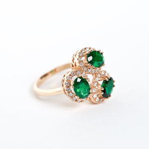The Brynlee - 18K Zambian Emerald and Diamond Cluster ring
