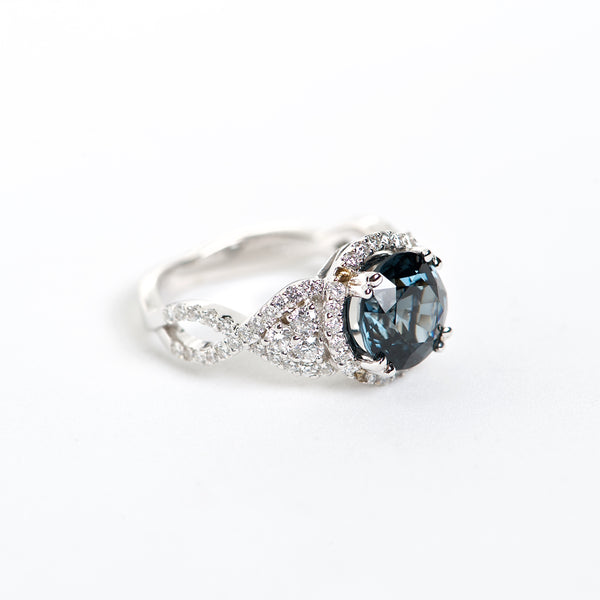 The Mia - GIA Certified 18K Blue Spinel and Diamond ring