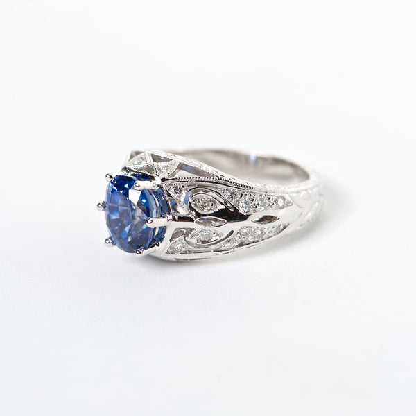 The Adele - GIA Certified 18K blue Sapphire and Diamond ring.