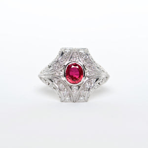 The Mindy -  Platinum Ruby And Diamond Ring