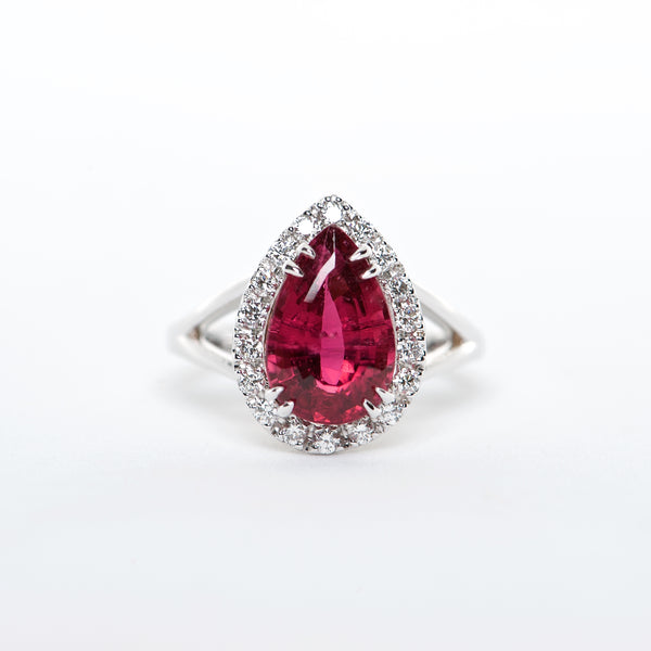 The Maddison - AAA 18K Rubellite Tourmaline and Diamond ring