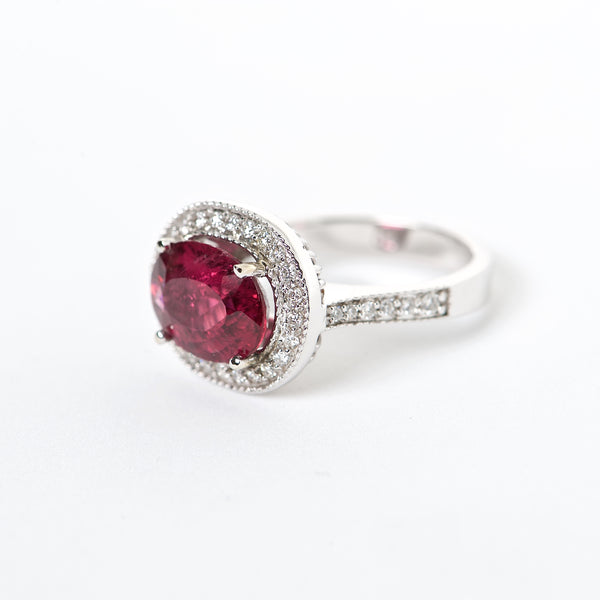 The kimmy - AAA 18K Rubellite Tourmaline and Diamond ring