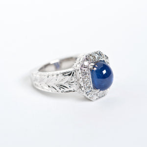 The Ivana - AAA Cabochon Blue Sapphire and Diamond ring