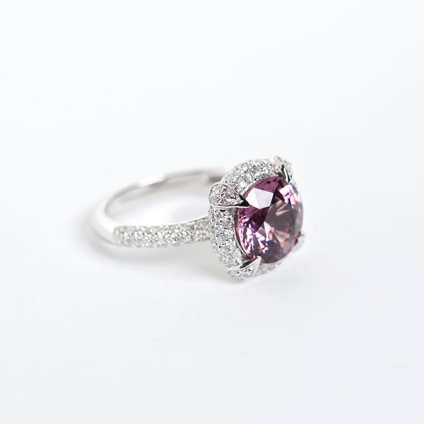 The Grace - GIA Certified 18K Spersastite Garnet and Diamond ring