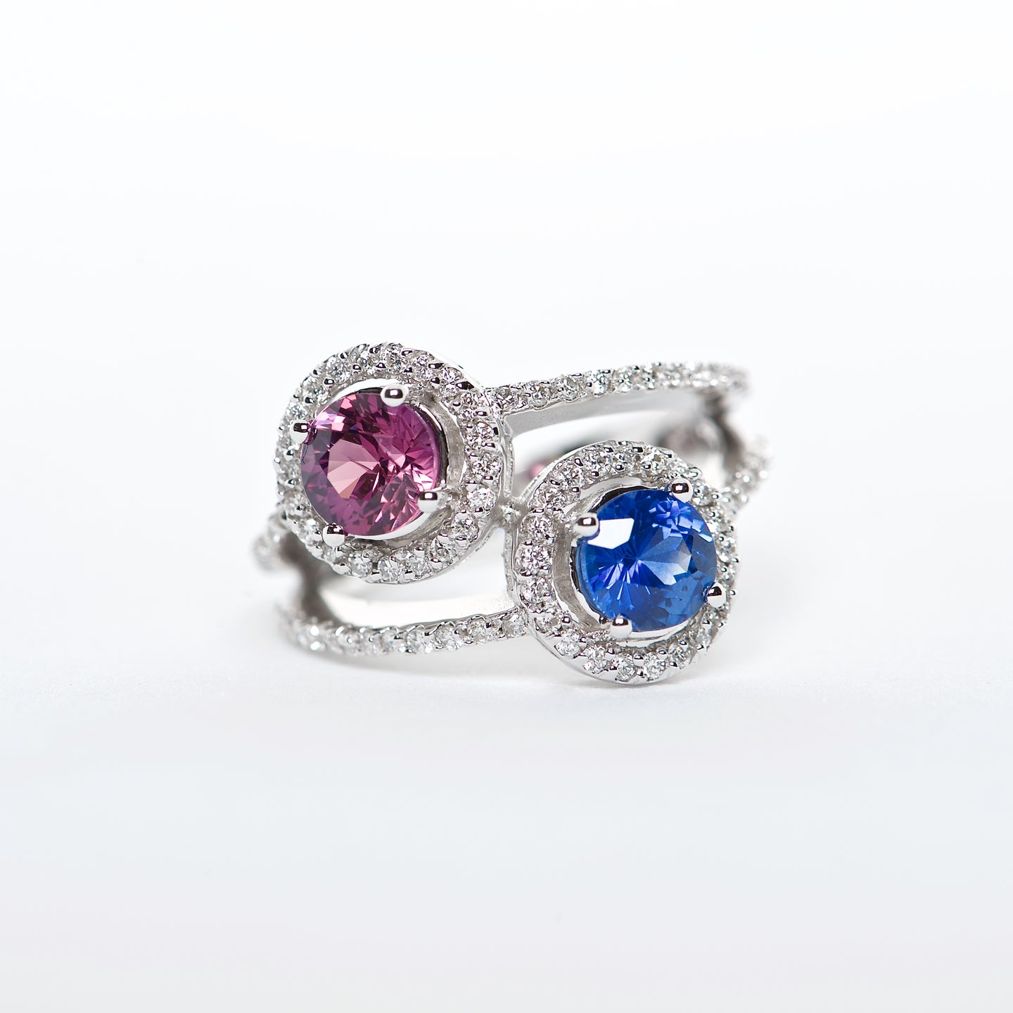 The Harley - 18K Pink, Blue Sapphire and Diamond ring