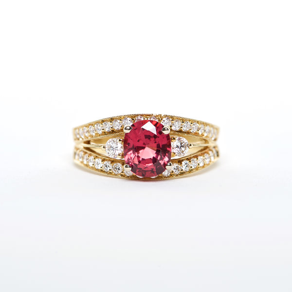 The Caddie - 18K Red Spinel and Diamond ringh