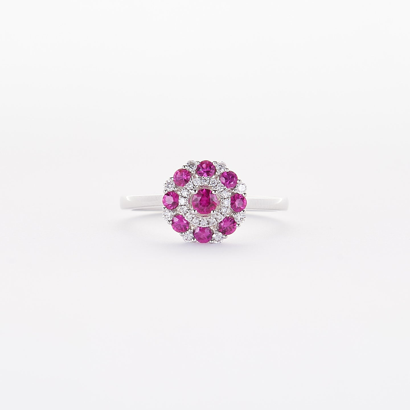The Emma - 14K White Gold Ruby and Diamond Ring