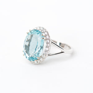 The Jaylin - 18K AAA Aquamarine and Diamond Ring