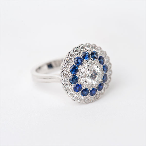 The Azura - 18K Diamond and Sapphire Ring