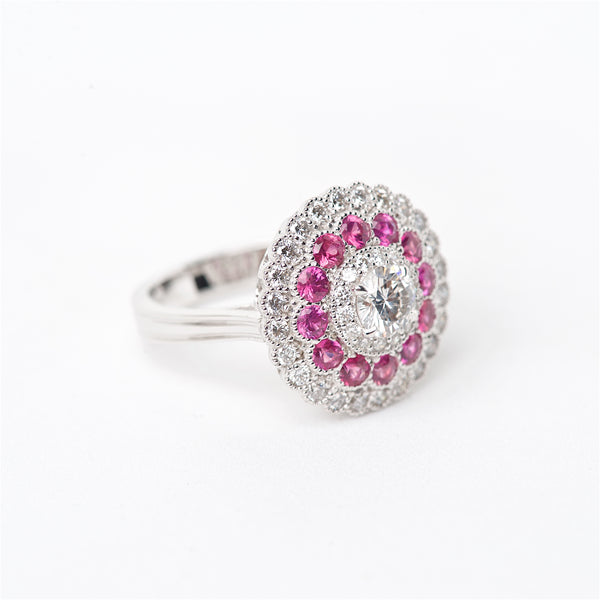 The Petunia - 18K Diamond and Pink Sapphire Ring