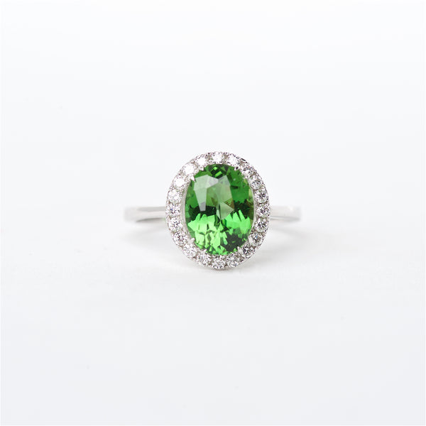 The Kendra - 18K Green Tourmaline and Diamond ring