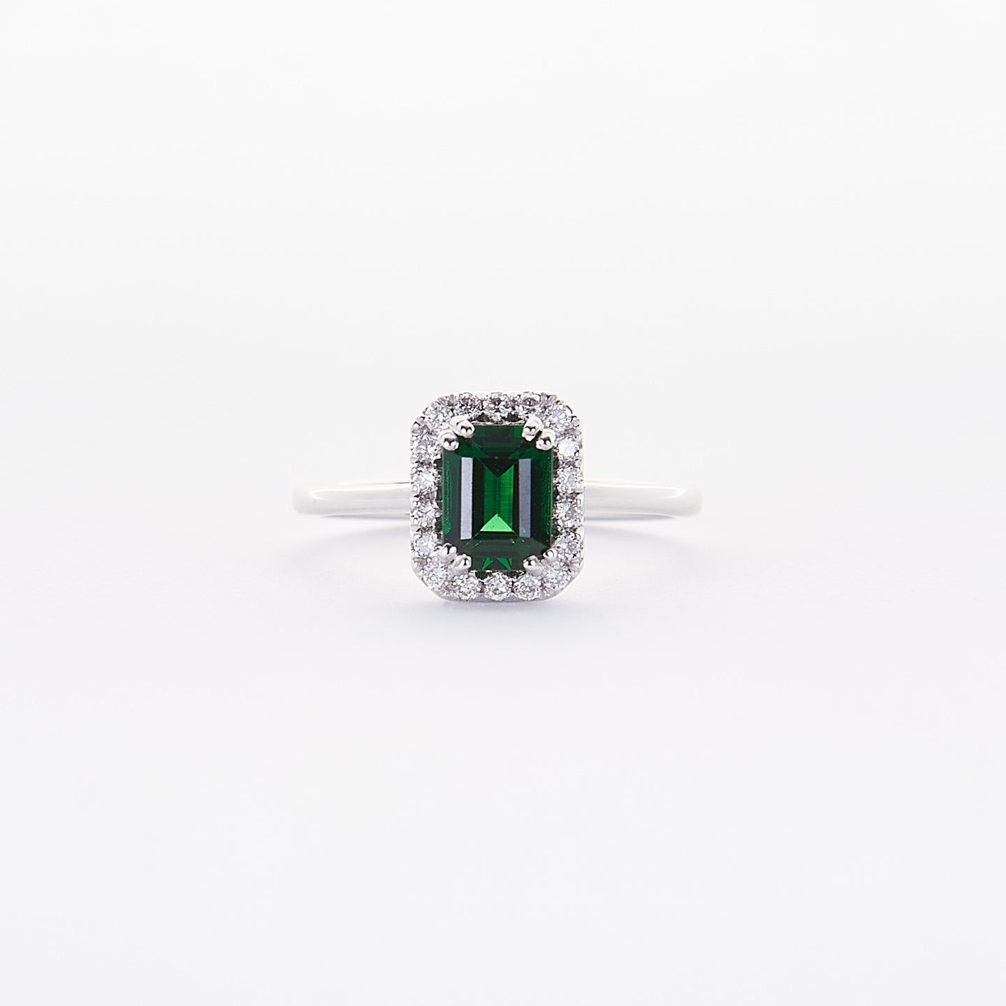 The Demi - 18K White Gold Fine Emerald Ring