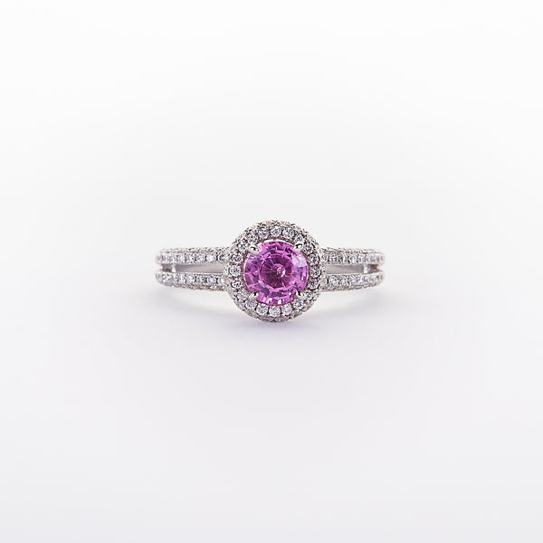 The Alexis - 18K White Gold and Pink Sapphire