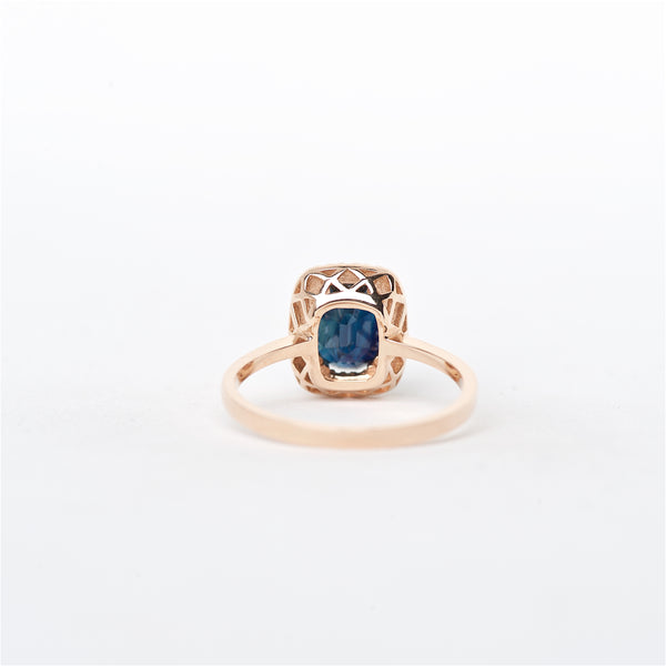 The Audrey - 14K Blue Sapphire and Diamond Ring