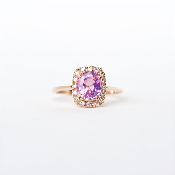 The Brooklyn - 18K Pink Sapphire and Diamond Ring