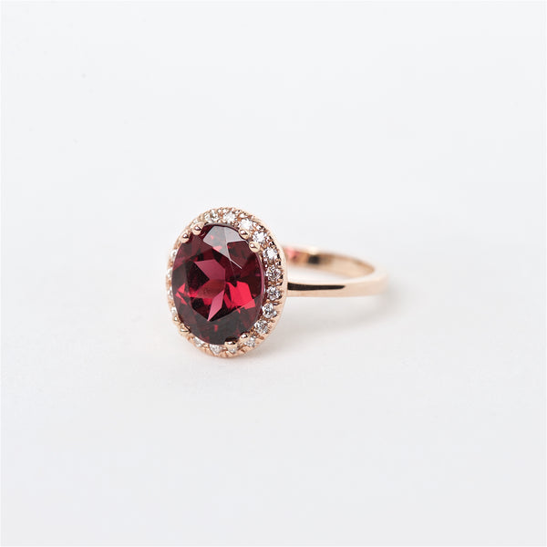 The Cameron - 14K  Red Garnet and Diamond Ring