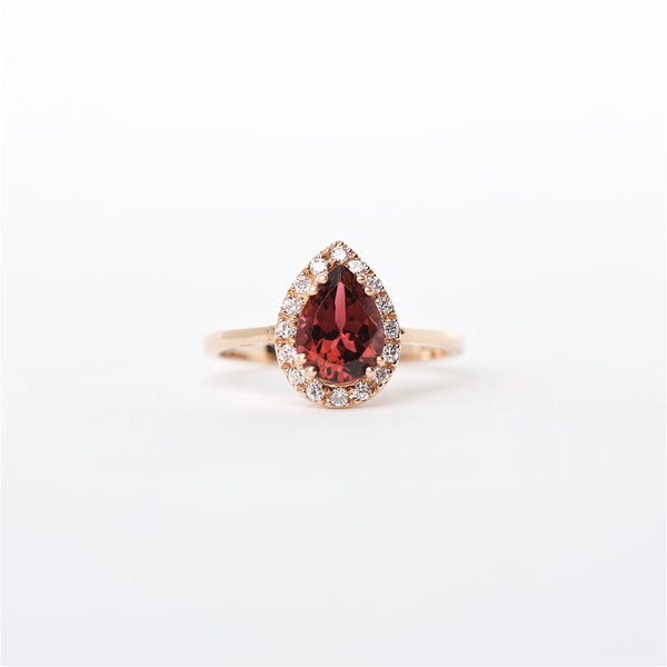 The Lucy - 14K Pink Tourmaline and Diamond Ring