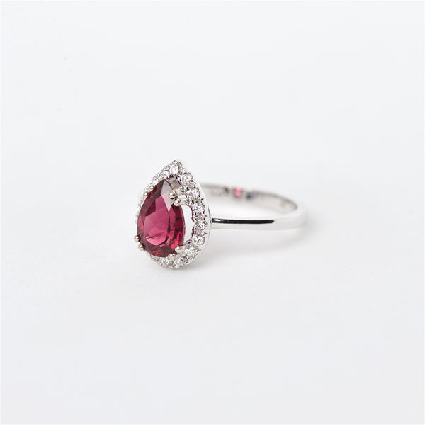 The Kimberly - 14K Rubellite Tourmaline and Diamond ring
