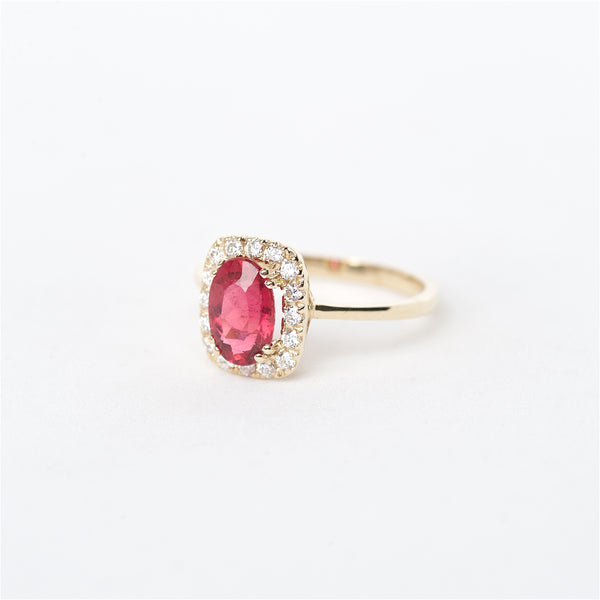 The Chloe - 14K Rubellite Tourmaline and Diamond Ring