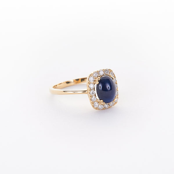 The Jaida - 14K Yellow Gold and Cabochon Blue Sapphire