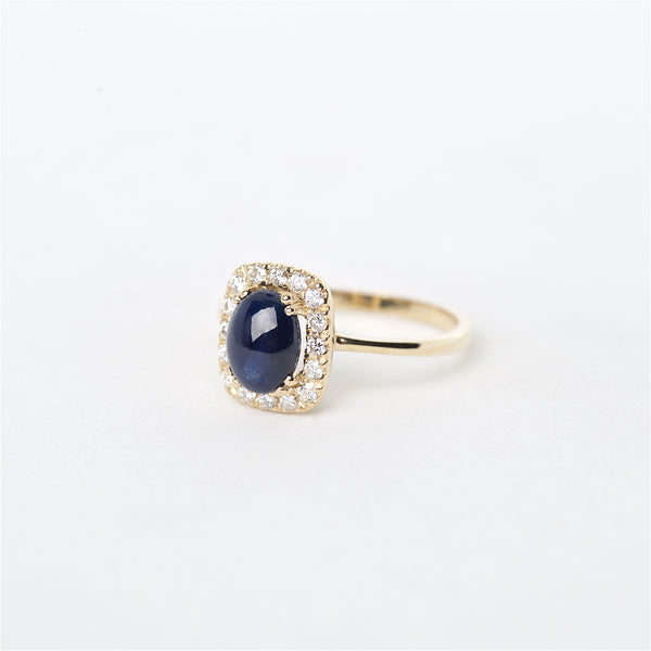 The Venus - 14K Cabochon Blue Sapphire and Diamond ring