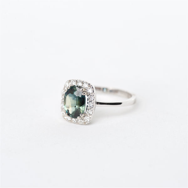 The Alexia - 14K Green Sapphire and Diamond ring