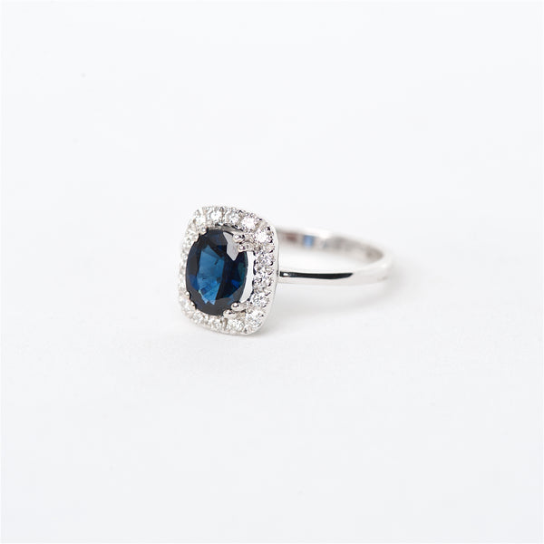 The Dana - 14K Blue Sapphire and Diamond ring