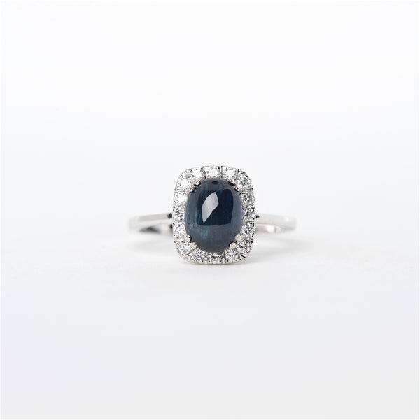 The Raven - 14K Cabochon Blue Sapphire and Diamond Ring