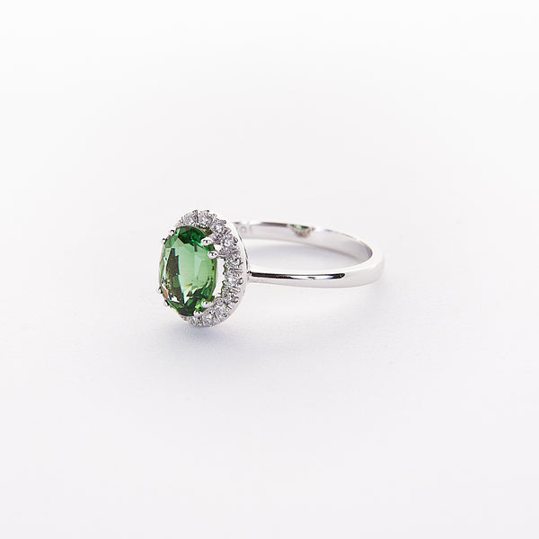 The Shea - 18K White Gold Green Tourmaline Ring