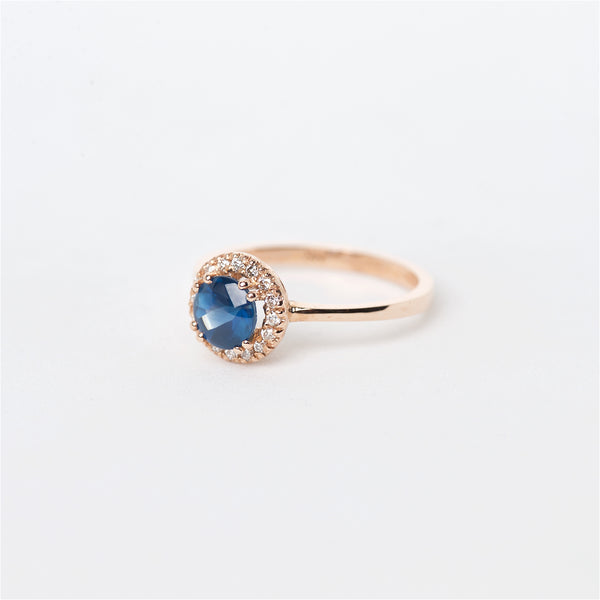 The Kali - 14K Cabochon Blue Sapphire and Diamond ring