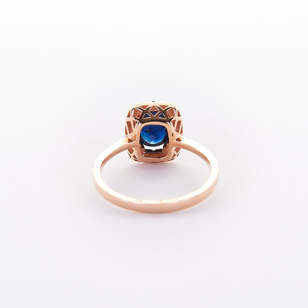 The Avery - 18K Rose Gold Cabochon Blue Sapphire Ring