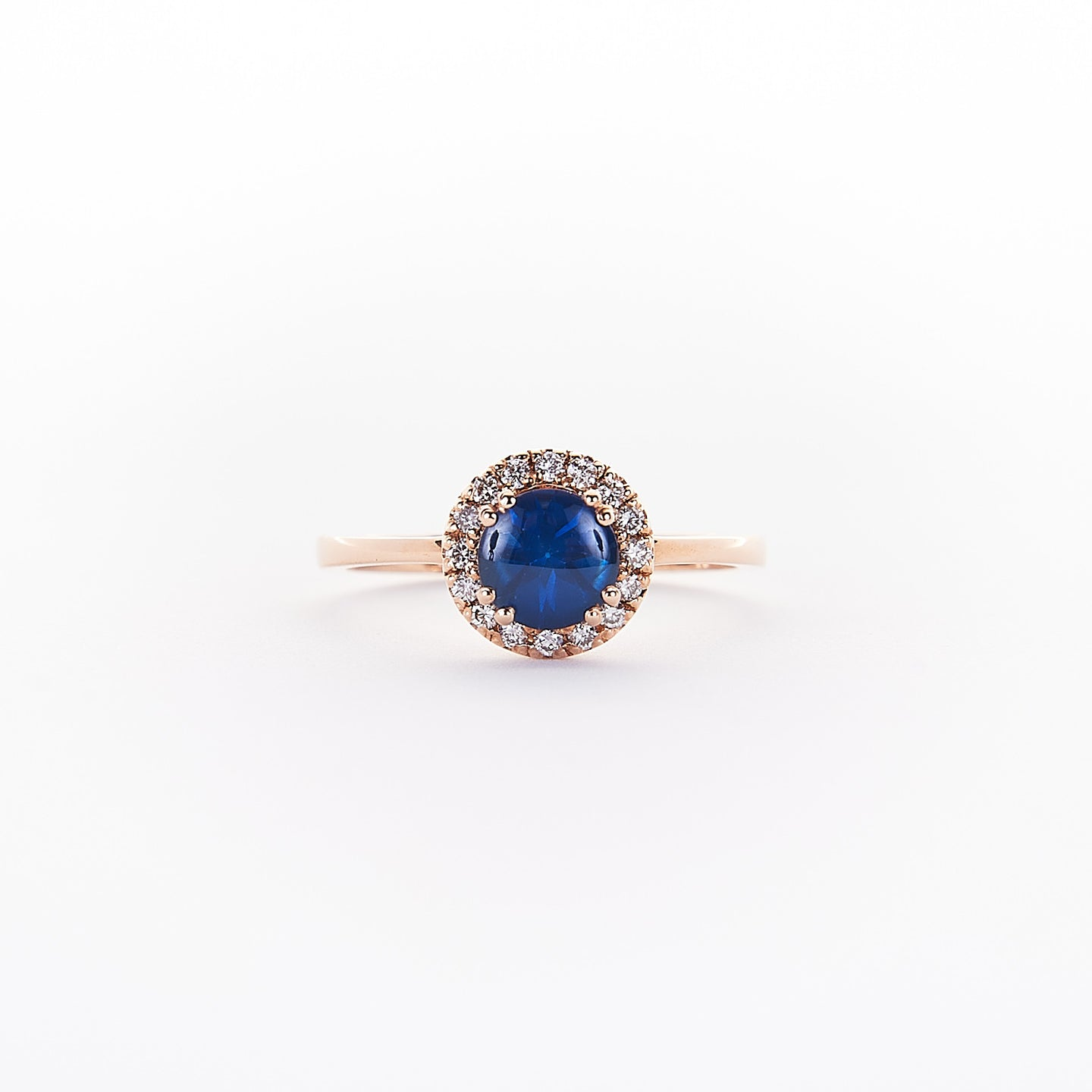 The Adora - 14K Rose Gold Cabouchan Blue Sapphire Ring