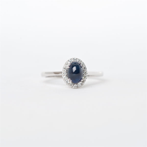 The Neptune - 18K Cabochon Blue Sapphire and Diamond ring