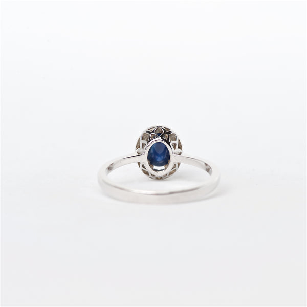 The Lara - 18K Cabochon Blue Sapphire and Diamond ring