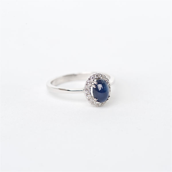 The Julianna - 18K Cabochon Blue Sapphire and Diamond Ring