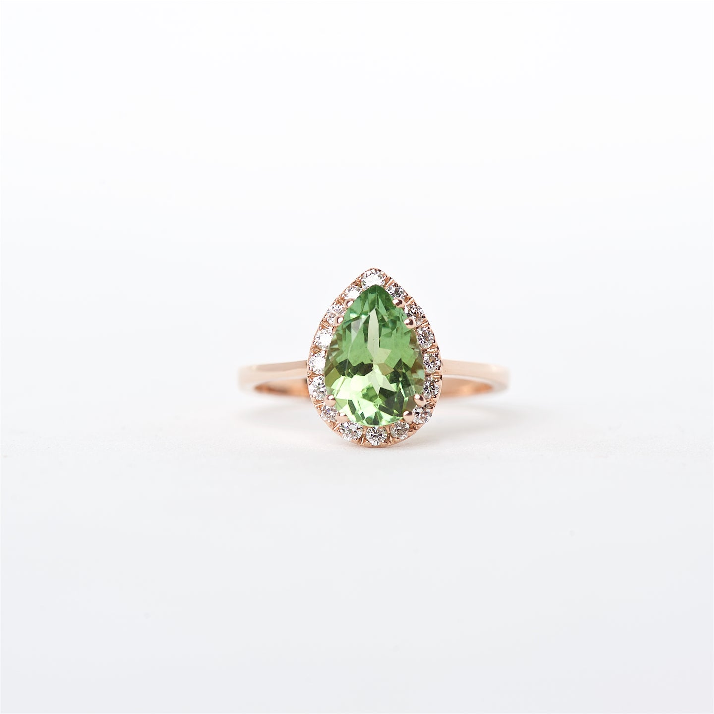 The Addison - 14K Rose Gold Green Tourmaline and Diamond Ring