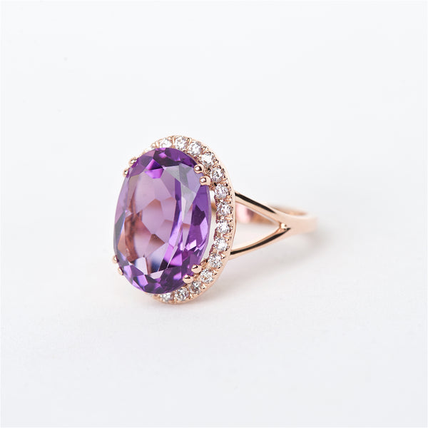 The Serenity - 14K Amethyst and Diamond Ring